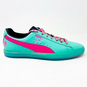 Puma Clyde South Beach Miami Palm Tree Teal Green Pink Mens Sneakers 368542 01