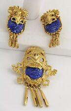 VINTAGE Jewelry SALVADOR TEHRAN MARBEL CERAMIC MAYAN PENDANT BROOCH EARRINGS SET