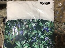 Vintage Laura Ashley Green Berry Bramble QUEEN Bedskirt Made in USA New