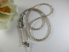 Natural Shell, Swarovski Crystals & Creme Pearls Beaded Eyeglass Chain~Holder