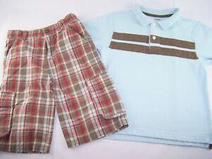 Boys GYMBOREE brown red plaid cargo shorts blue polo t shirt 7 summer outfit set