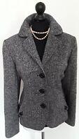 Hobbs Wool Blend Tweed Black & White Jacket Blazer Size 8
