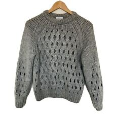 & Other Stories Grey Wool Blend Chunky Cable Knit Jumper Open hole detail Small