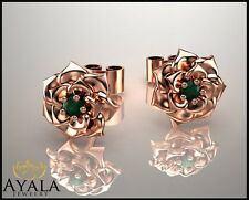 14K Rose Gold Emerald Flower Earrings,Emerald Studs, Fashion Solid Gold Studs