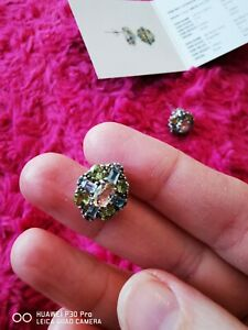 Lemon Citrine, Peridot, Sky Blue Topaz Silver stud Earrings gems tv 4 carat