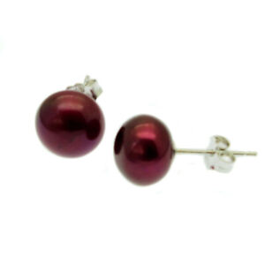 Pearl Stud Earrings Sterling Silver Red Cultured Freshwater Pearls