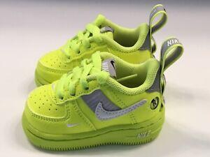 """Nike Air Force 1 LV8 Utility """"Volt"""" Toddler Sz 2c NEW AV4273-700 NEONLIME GREEN"""