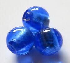 30pcs 12mm Round Silver Foil Lampwork Glass Beads - Dark Blue
