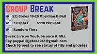 2019-2020 Obsidian Basketball (2) Box GROUP BREAK RANDOM TIER TEAMS - 10 Spots