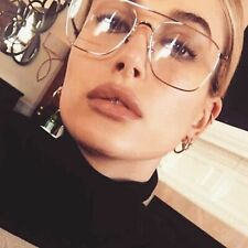 New Fashion Metal Frame Rectangle Clear Lens Glasses Geek Spectacles Mens Womens