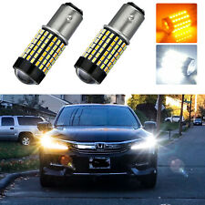 1157 White Amber Dual-Color Switchback 120 SMD LED Turn Signal Bulbs For Honda