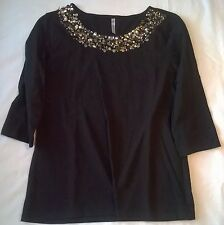 women's ladies black gold copper sequins Medium 8-10 casual shirt top 3/4 sleeve