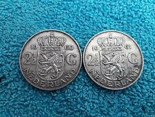 Lot de 2- 2 ½ Gulden 1960 & 1961 Juliana Nederlands  Pays Bas Netherlands Argent