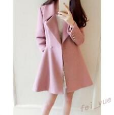 Womens Pink Slim Fit Lapel Trench Coats Outerwear  Fahion Overcoats Sweet Caual