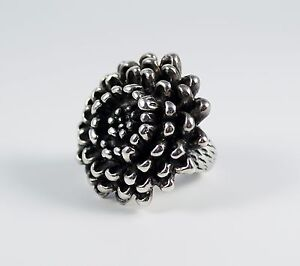 Large Chunky Statement Sterling Silver Chrysanthemum Mum Flower Cocktail Ring