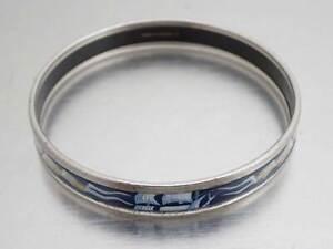 Auth HERMES Cloisonne Bangle Bracelet Blue/Silvertone Enamel/Metal - e45223a
