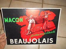 Ancienne Affiche Cartonnée Mâcon Beaujolais vin Statue Porteurs Benne par Morlon