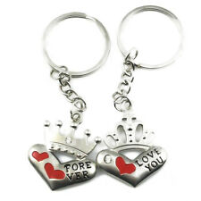1Pair Keychain Keyring Crown Love Heart Couples Lovers Keychain Silver Stylish