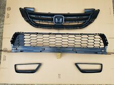 fits 2013-2015 ACCORD 4dr Front Bumper Upper Lower Grille w Fog Light SET 4PC