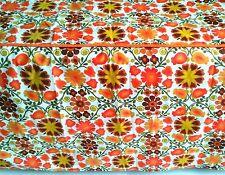 Vtg. 70's Tailored Bedspread 100% Cotton Flower Power Orange Green Flower Power