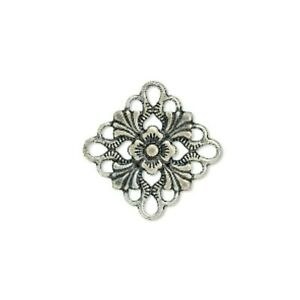 10 Antiqued Silver 20mm Filigree Flat Square Focal Cabochons Links Bead Findings