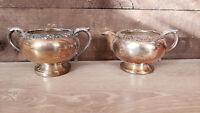 Antique 1883 FB Rogers Silver Co Silver Plated Creamer & Sugar Bowl.1091
