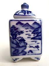 Piccola Porcellana Blu & Bianco Oriental coperchio con paesaggio in bambù Designs