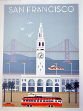San Francisco vintage style travel poster Ferry Building Streetcar Bay Bridge