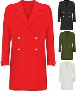 Womens Plus Long Sleeve Mini Blazer Dress Ladies Button Accent Top Jacket Plain