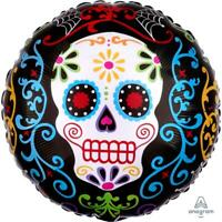 Day of The Dead Pattern Foil Balloon - Party Skull Halloween Decoration - 29939