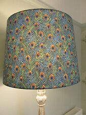 Handmade Tapered Drum 40cm Lampshade Cotton Lawn Blue Peacock fabric
