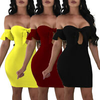 Women off shoulder bodycon clubwear party cocktail casual mini dress S-3XL