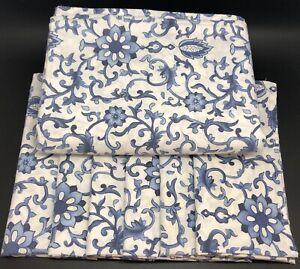 "Blue & White Porcelain Floral 56x80"" Rectangle Tablecloth & 6 Napkins (RF985)"