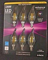 FEIT 6 LED E12 Soft White Candelabra Chandelier Dimmable Light Bulb 3.8w=40w