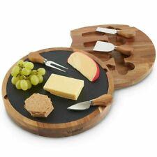 VonShef 1000200 Round Cheese Board & Knife Set