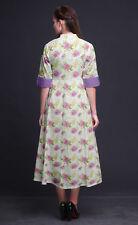 Bimba Floral Women Casual Shirt Dress Print Party Mid-Calf Swing Dress -FL-627O