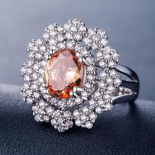 Fashion Oval Cut 2.25ct Champagne Topaz 925 Silver Wedding Ring Size 9