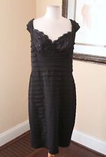 Tadashi Collection Black Layered Lace Sequin Evening Cocktail Formal Dress Sz XL