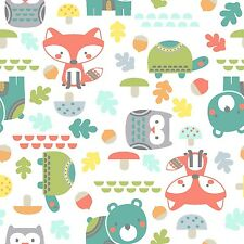Fabric Woodland Baby Animals on White Flannel 1 Yard S
