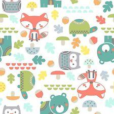 Fabric Woodland Baby Animals on White Flannel 1 Yard S