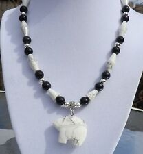 "16"" Black Onyx White Turquoise Necklace with Zuni style Bear Pendant"