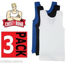 3 PACK x BONDS CHESTY BLUE BLACK WHITE BOYS KIDS SINGLETS SIZE 3 4 6 8 10 12 14