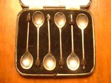 6 Antique Sheffield Silver Coffee Spoons Hallmarked Circa 1890-1910 in Orig Case