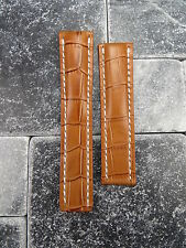 24mm Leather Strap Honey Brown Deployment Watch Band BREITLING NAVITIMER 24