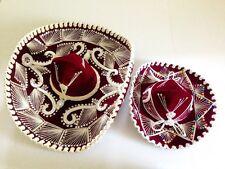 "Lot Vintage Mexican Mariachi Sombrero Hats Burgundy (Salazar 23"" & Pigalle 15"")"