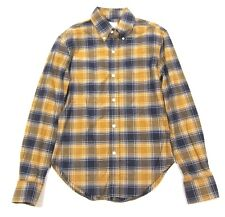 Band of Outsiders BoO Plaid Flannel Button Down Shirt in Yellow & Blue sz 1 XS