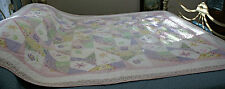 "VINTAGE HAND MADE QUILT MULTI-COLOR APPLIQUE 66"" X 84"""