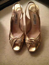 Jimmy Choo Gold Leather Open Toe/Slingback Heeled Sandals