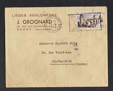 """ROUEN (76) BOUCHONS / LIEGES Agglomérés """"J. GROGNARD"""" voyagée en 1956"""