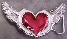 Pewter Belt Buckle novelty Winged Heart NEW